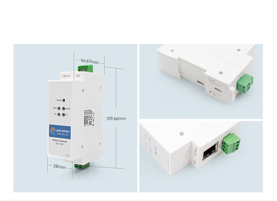 Product details of Din rail RS232 serial to Ethernet converter: PC+ABSC material, portable, low cost, V0 flame retardant