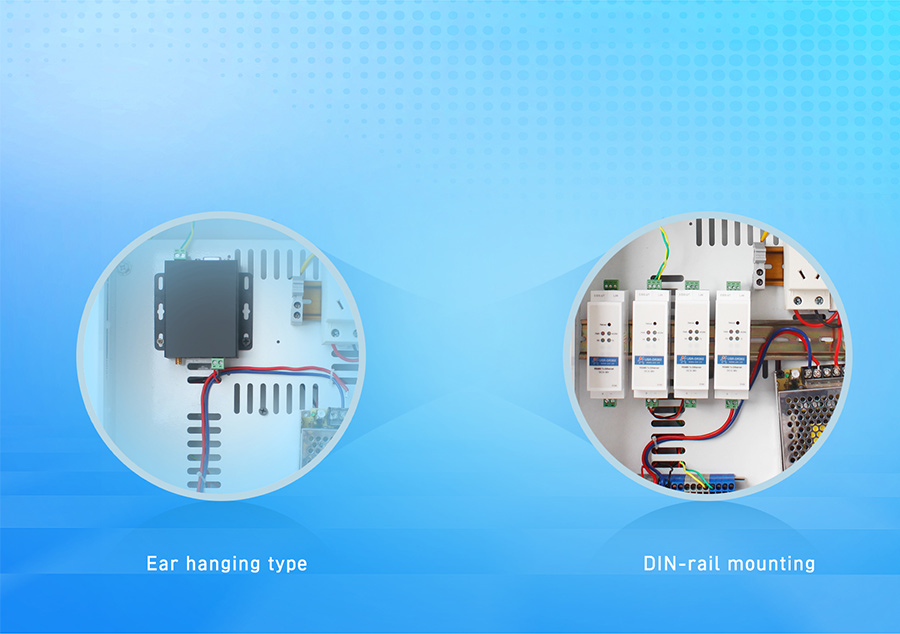 features of DIN-rail RS485 serial to Ethernet converter